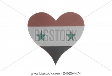 Heart With Flag Of Syria Isolated On A White Background.