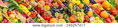 Collage of healthy fruits and vegetables divided oblique white lines