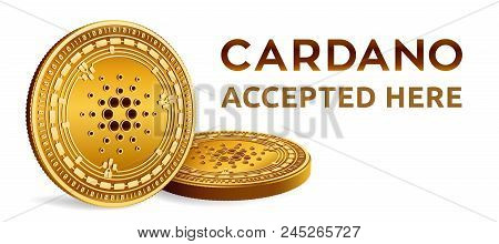 Cardano. Accepted Sign Emblem. Crypto Currency. Golden Coins With Cardano Symbol Isolated On White B