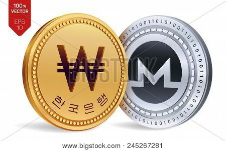 Monero. Won. 3d Isometric Physical Coins. Digital Currency. Korea Won Coin. Cryptocurrency. Golden A