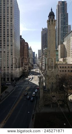 Aerial Elevated View Up Above Michigan Avenue And Water Tower Place Chicago, Illinois