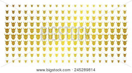 Daemon Head Icon Gold Colored Halftone Pattern. Vector Daemon Head Items Are Arranged Into Halftone