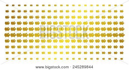 Piggy Bank Icon Golden Halftone Pattern. Vector Piggy Bank Pictograms Are Arranged Into Halftone Gri