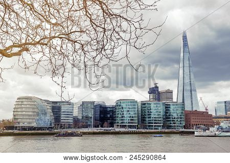 London, Uk - April 2018: The Curved Glass Building In Spherical Shape Of The City Hall Of London And