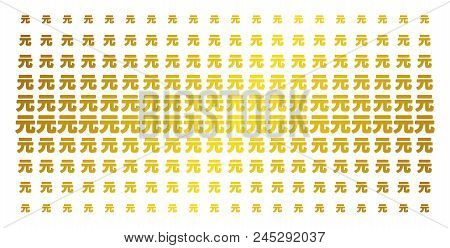 Yuan Renminbi Icon Gold Colored Halftone Pattern. Vector Yuan Renminbi Objects Are Organized Into Ha