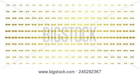 Exchange Arrows Icon Gold Halftone Pattern. Vector Exchange Arrows Symbols Are Organized Into Halfto