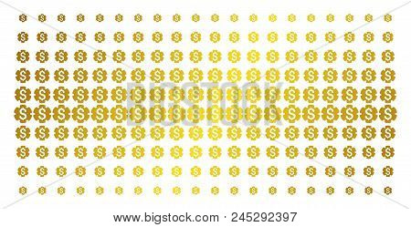 Financial Settings Gear Icon Gold Colored Halftone Pattern. Vector Financial Settings Gear Pictogram