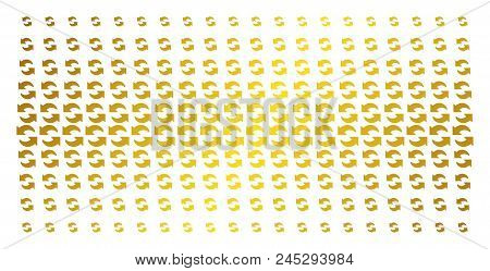 Refresh Icon Gold Halftone Pattern. Vector Refresh Pictograms Are Arranged Into Halftone Grid With I