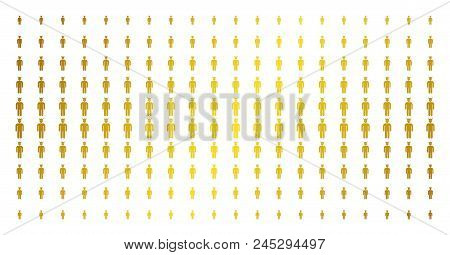 Daemon Icon Gold Halftone Pattern. Vector Daemon Shapes Are Arranged Into Halftone Grid With Incline