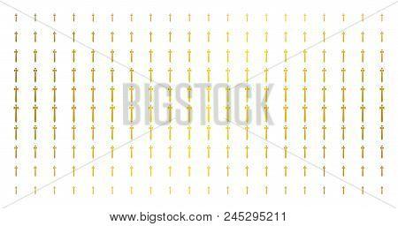 Medieval Sword Icon Gold Halftone Pattern. Vector Medieval Sword Symbols Are Arranged Into Halftone