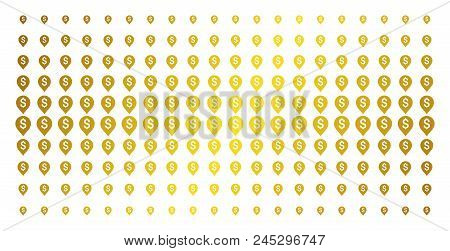 Banking Map Marker Icon Gold Colored Halftone Pattern. Vector Banking Map Marker Objects Are Organiz