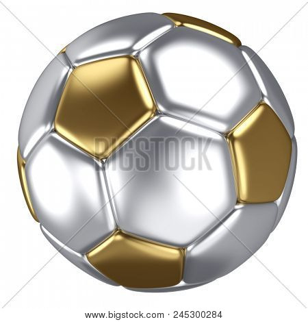 Classic Gold and Silver Soccer Ball Isolated on White Background. 3D Illustration. Metal Football Ball.