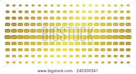 Mail Envelope Icon Golden Halftone Pattern. Vector Mail Envelope Items Are Arranged Into Halftone Ar