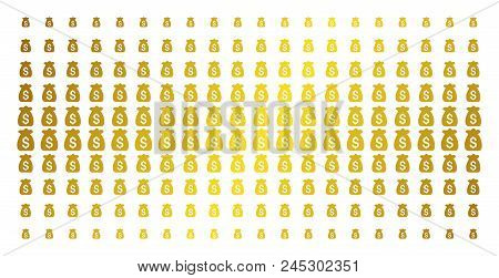 Financial Capital Icon Golden Halftone Pattern. Vector Financial Capital Shapes Are Organized Into H