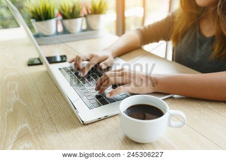 Focus On Finger Typing On Laptop Computer