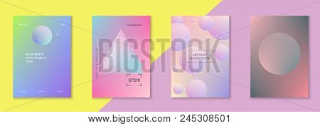 Holographic Fluid Set With Circles. Geometric Shapes On Gradient Background. Modern Hipster Template