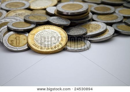 Ten Mexican Peso Coin Spot Lit Among Other Pesos
