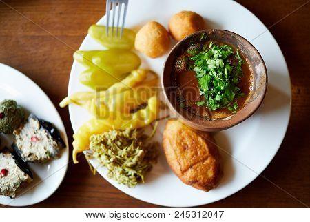 Georgian Cuisine In Restaurant In Tbilisi