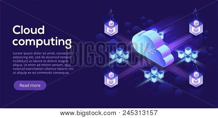 Cloud computing or storage isometric vector illustration. 3d hosting servers or datacenter background. IT network or mainframe infrastructure website header layout. Computer system or workstation. poster