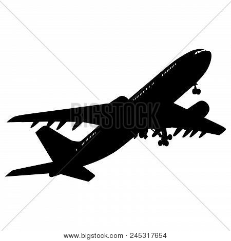 Airplane Silhouette On White Background. Vector Illustration.