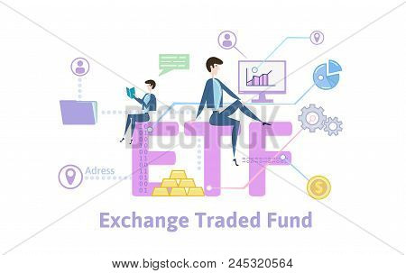 Etf, Exchange Traded Funds. Concept With Keywords, Letters And Icons. Colored Flat Vector Illustrati