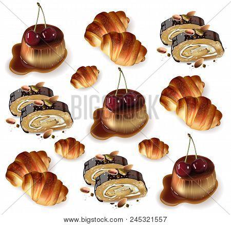 Sweet Desserts Pattern Vector. Pistachio Rolls, Croissants, Panna Cotta Realistic 3d Illustration