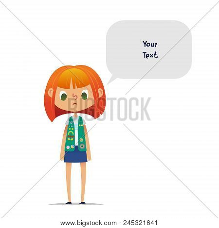 Sad Or Upset Redhead Teenage Girl Scout Wearing Vest With Colorful Badges And Patches And Speech Bal