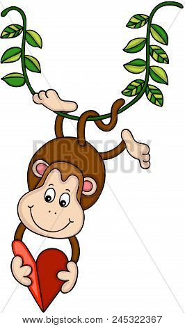 Scalable Vectorial Representing A Hanging Monkey Holding A Red Heart, Element For Design, Illustrati