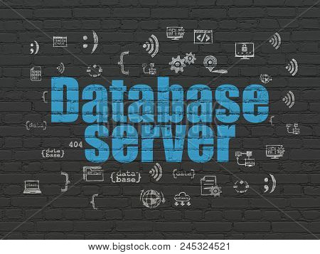 Programming Concept: Painted Blue Text Database Server On Black Brick Wall Background With  Hand Dra