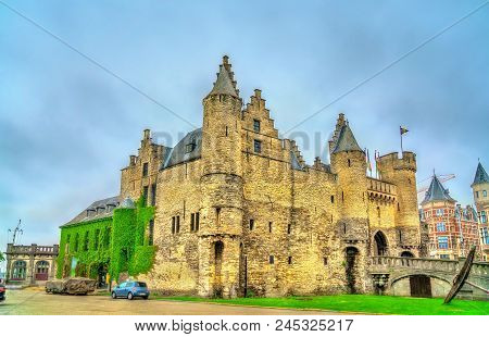 Het Steen, A Medieval Fortress In The Old City Centre Of Antwerp, Belgium