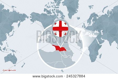 World Map Centered On America With Magnified Georgia. Blue Flag And Map Of Georgia. Abstract Vector
