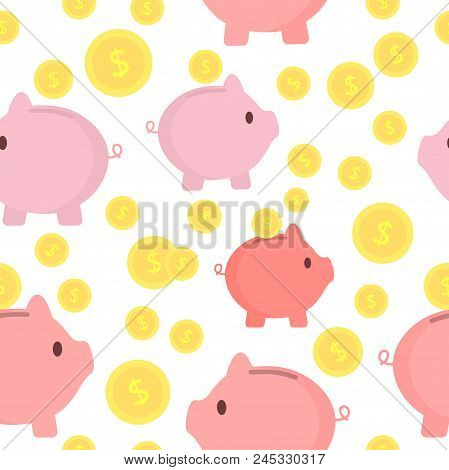 Piggy Bank With Coins Seamless Pattern. Interesting Design. Saving Money Or Open A Bank Deposit Conc