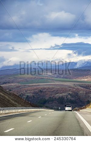 Scenic View With Dark Clouds Of Pirin Mountain In Southwestern Bulgaria From Struma Highway With A C
