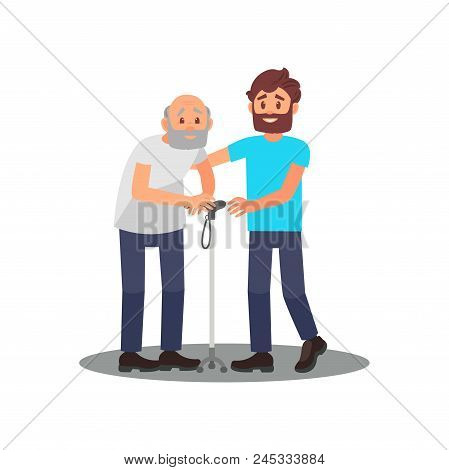 Young Guy Caring For Senior Man. Grandpa With Walking Stick And Friendly Volunteer. Social Worker. C
