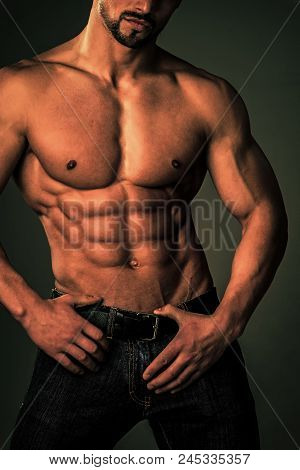 Man With Muscular Body And Torso. Sport And Workout. Coach Sportsman With Bare Chest. Athletic Bodyb