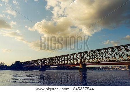 Vintage Photo Of Old Railway Bridge In Belgrade, Serbia. Old Railway Bridge In Belgrade, Serbia. Bri