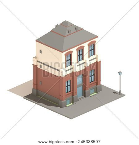 Flat 3d Model Isometric Apartment English House Isolated On White Background
