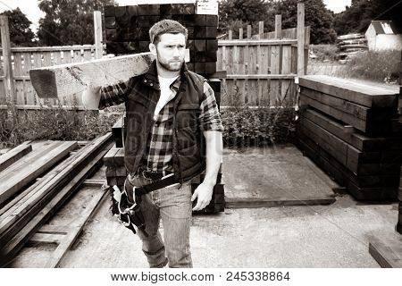 Carpenter, Worker, Store Man At Small Business Lumber Yard Carrying Plank Of Wood With Tool Belt On