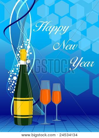 abstract background with champagne glass, bottle