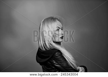 Fashion Portrait Of A Woman In A Jacket. Portrait Of Girl With Red Lips In Black Leather Jacket, Sen