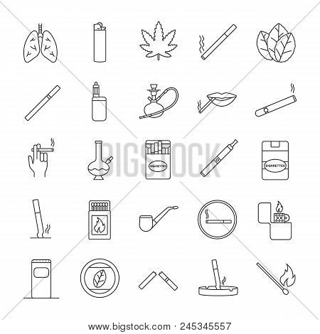 Smoking Linear Icons Set. Cigarettes, Smoking Devices, Cannabis Culture. Thin Line Contour Symbols.