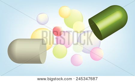 Split Capsule And Round Pellets On Cyan Background In Pharmaceutical Technology Concept.
