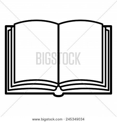 Vector Single Black Outline Icon - Open Blank Book