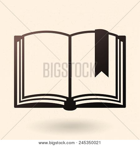 Vector Single Black Silhouette Icon - Open Blank Book With Bookmark