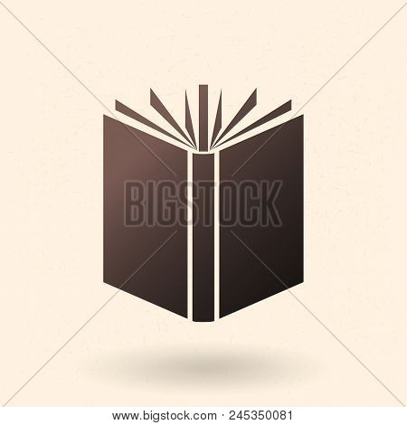 Vector Black Silhouette Icon - Open Book