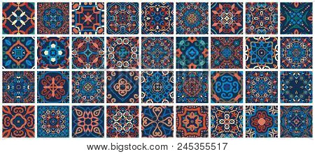 Vector Tiles Patterns. Seamless Flourish Backgrounds With Blue Red Flower Elements. Arabic Decorativ