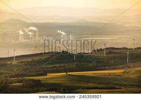 Polish Coal Power Station Turow And Wind Power Plants
