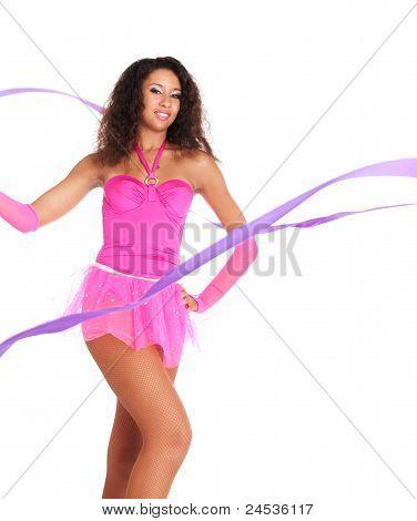 Dancer Black Girl With The Ribbon In Ballet Tutu