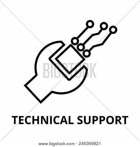 Modern Editable Line Vector Illustration, Technical Support Icon, For Graphic And Web Design