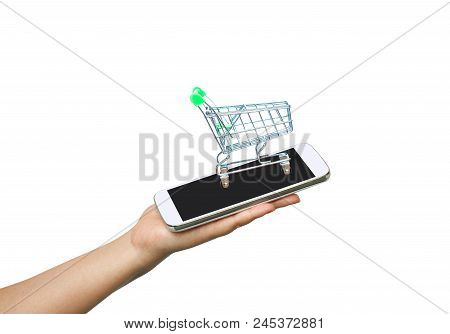 Mobile In Hand For Shopping Online E Business.
